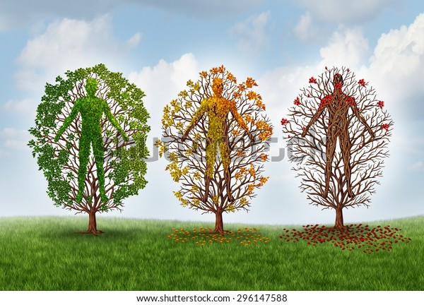 Human aging concept and deterioration of health due to disease in the body as a healthy green tree shaped as a person changing leaf color and losing leaves as a healthcare and medical metaphor.