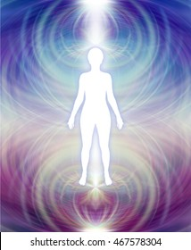 Human Aura Energy Field -   white female silhouette with a blue upper and deep purple lower energy field aura radiating outwards
