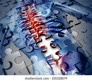 Human back disease medical concept with a jigsaw puzzle texture and a piece missing as a broken skeleton anatomy and a symbol of the spine and joint pain caused by inflammation.