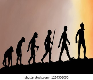 Human beings changing from Australopithecus to modern Homo sapience. Then with the passage of time they have turned into a monster of a society.