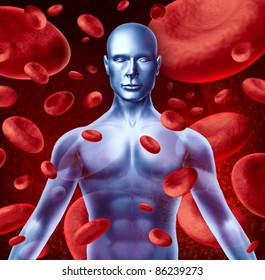Human blood circulation symbol with red blood cells flowing through veins pumped by the heart muscles and patient circulatory system representing a medical health care symbol.