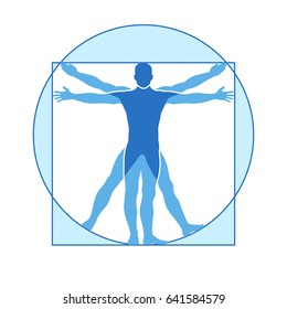 Human body icon similar vitruvian man. Like Leonardo da Vinci image vitruvian man, classic proportion form man illustration