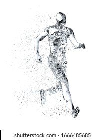 Human body shape of a running man filled with water isolated on white background - sport or fitness hydration, healthy lifestyle or wellness concept, 3D illustration
