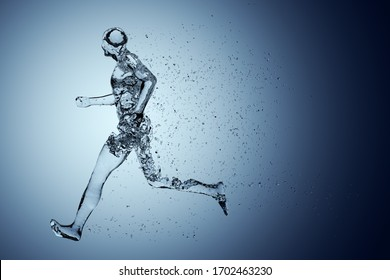Human body shape of a running man filled with blue water on blue gradient background - sport or fitness hydration, healthy lifestyle or wellness concept, 3D illustration
