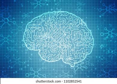 Human brain 2d illustration, Digital illustration of Human brain structure, Creative brain concept background, innovation background