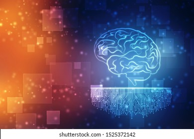 Human brain 2d illustration, Digital illustration of Human brain structure, Creative brain concept background, Concept of Thinking, Innovation background