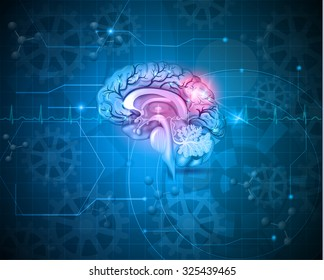 Human brain abstract light blue background with cardiogram, gears and molecules