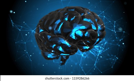 Human brain among light particles and plexus structure. Black material illuminated from inside. Abstract futuristic science and technology background. 3D rendering.