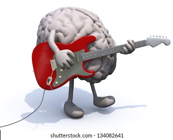 human brain with arms and legs playing a guitar, learning music concepts.