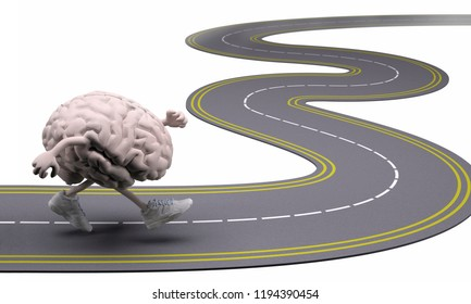 human brain with arms, legs and sneackers on his feet that runs in the street, 3d illustration