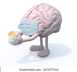 human brain with arms, legs and surgery mask washes his hands with soap, 3d illustration