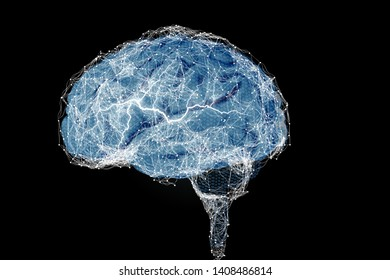 Human brain and its capabilities. Conceptual vision. - Illustration