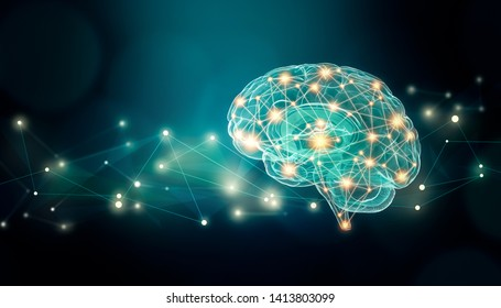 Human brain connexions illustration with abstract background and plexus lines network and copy space. Cerebral or neuronal activity concepts.