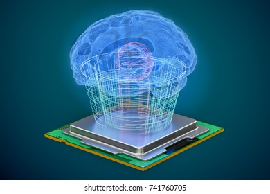 Human brain with cpu processor, artificial intelligence concept. 3D rendering