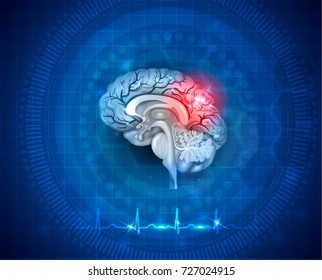 Human brain damage and treatment concept. 3d illustration on an abstract blue background with cardiogram.