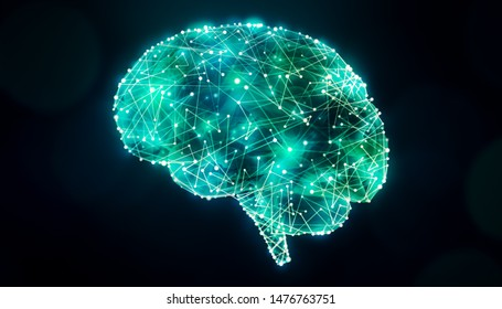 Human brain design with bright glowing plexus lines network. Science, neuroscience, psychology and cognition concept illustration.