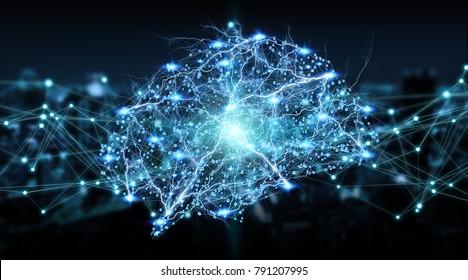Human brain digital x-ray on city background 3D rendering