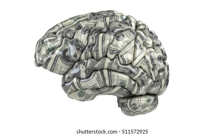 Human brain with dollars texture isolated on white. Concept 3d render, illustration