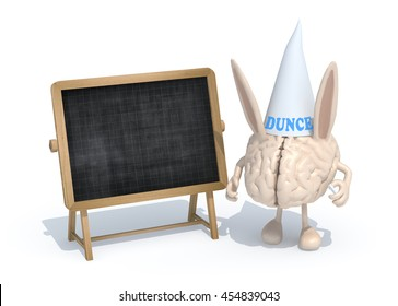 human brain with ears Dunce and hat in front of a blackboard, 3d illustration