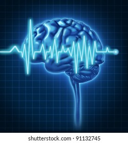 Human Brain ECG Health monitoring of the electrical signals that cause seizures in the human mind and charting the cognitive mental function of the intelligence of the anatomy of the body.