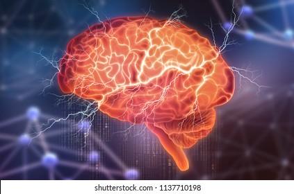 Le cerveau humain. Activité électrique. Création d'intelligence artificielle. Illustration 3D sur fond futuriste