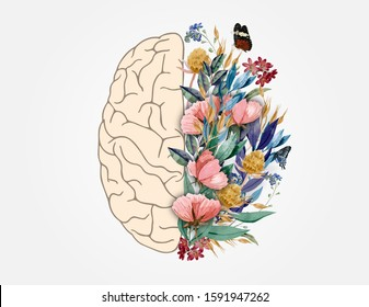 Human Brain with Flowers, Mental Health Awareness, Mental Health Awareness Month, Mental Health