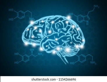 Human brain illustration with hormone biochemical concept background