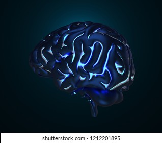 The human brain with luminous gyruses. 3D illustration