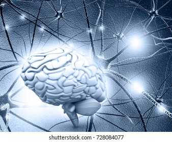 Human brain and Neuron cells on abstract blue background. 3d illustration