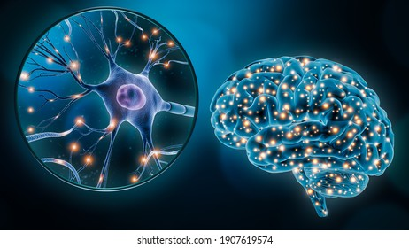 Human brain neuronal stimulation or activity with the close-up of a neuron cell 3D rendering illustration. Neuroscience, neurology, medicine, science, cognition, intelligence, psychology concepts.
