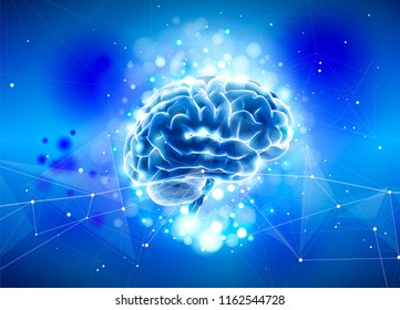 Human brain on a blue technological background surrounded by information fields, neural networks, Internet webs - the concept of modern technology, biotechnology, artificial intelligence