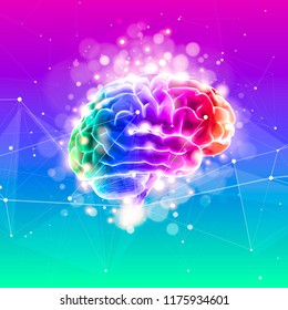 Human brain on a color technological background surrounded by information fields, neural networks, Internet webs - the concept of modern technology, biotechnology, artificial intelligence