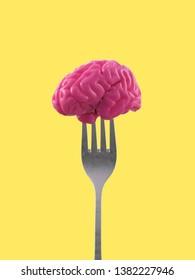 cerebro humano en un tenedor, ilustración 3d