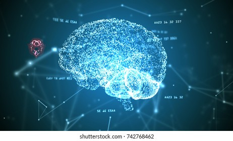 Human brain, plexus structure and digits orbiting around. Blue abstract science and technology background. 3D rendering. Depth of field settings.
