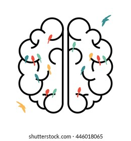 Human brain in simple line art style with colorful bird shapes inside, free your creative imagination concept design.
