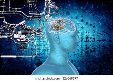 Human brain, technology and cybernetics.