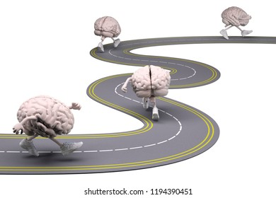 human brains with arms, legs and sneackers on feet that runs in the street, 3d illustration