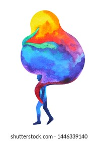 human carrying abstract monster ghost on shoulder watercolor painting illustration hand drawing design