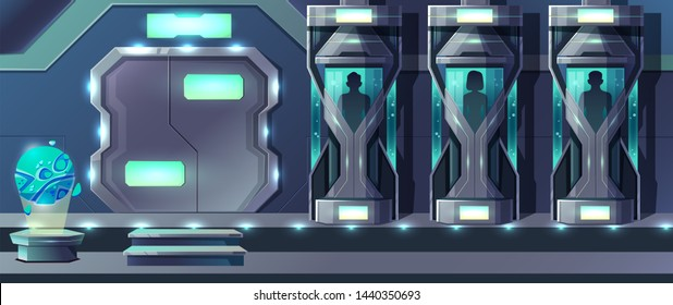 Human cloning cartoon with female and male human beings growing in glass capsules in laboratory illustration. Astronaut crew hibernation in long space travel concept. Science fiction technology