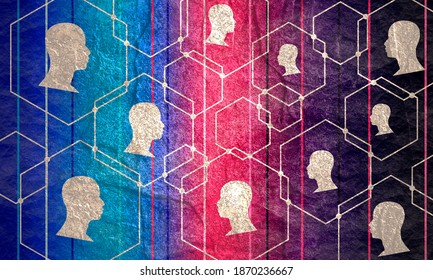 Human communication background. Modern brochure or web banner design template. Connected hexagons with dots. Medical and sociology background. Social network