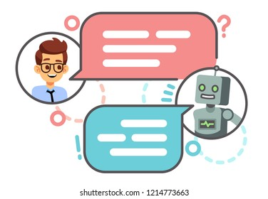 Human conversation with robot on smartphone. Chatting with bot, chatbot concept