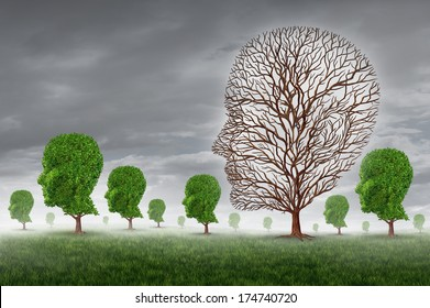 Human death and grief as loss of a loved one concept with a group of trees shaped as a head and one tree with no leaves as a metaphor for community support for grieving  disease and aging illness.
