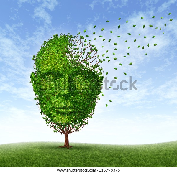 Demenz beim Menschen: Gedächtnisverlust aufgrund des Alters und Alzheimer-Krankheit mit der medizinischen Ikone eines Baumes in Form einer Vorderseite, menschlicher Kopf und Hirn verlieren Blätter, wenn die Geistesfunktion verschwindet.