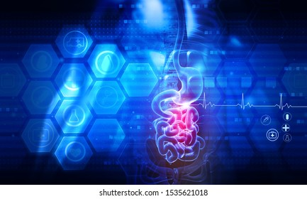 Human digestive system anatomy on abstract scientific background