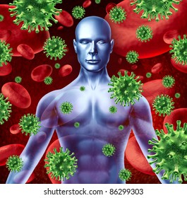 Human disease and infection representing a medical health concept of bacterial virus transfer and spread of infections from human transfusions showing the upper body of a patient torso.