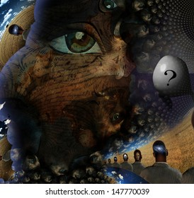 Human dream like scene in organic