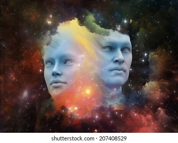 Human Dreams series. Backdrop composed of Fused human forms, fractal shapes and textures and suitable for use in the projects on mind, imagination, unity, friendship and love