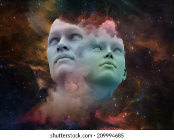 Human Dreams series. Composition of Fused human forms, fractal shapes and textures on the subject of mind, imagination, unity, friendship and love