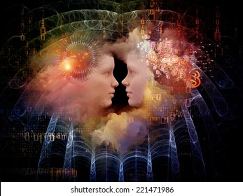 Human Dreams series. Creative arrangement of Fused human forms, fractal shapes and textures as a concept metaphor on subject of mind, imagination, unity, friendship and love