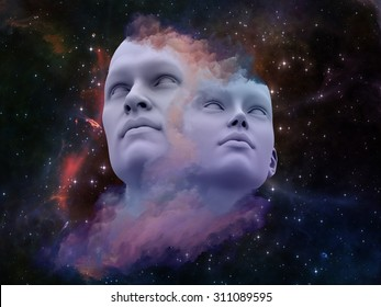 Human Dreams series. Interplay of Fused human forms, fractal shapes and textures on the subject of mind, imagination, unity, friendship and love